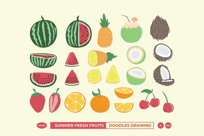Thumbnail for Summer Fresh Fruits Doodle