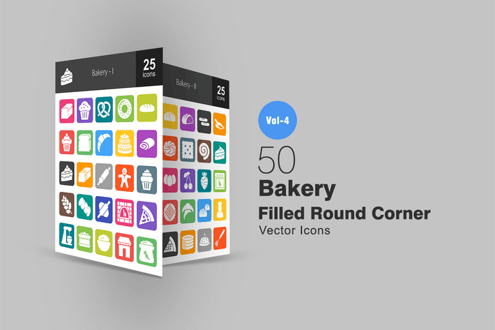 Thumbnail for 50 Bakery Flat Round Corner Icons