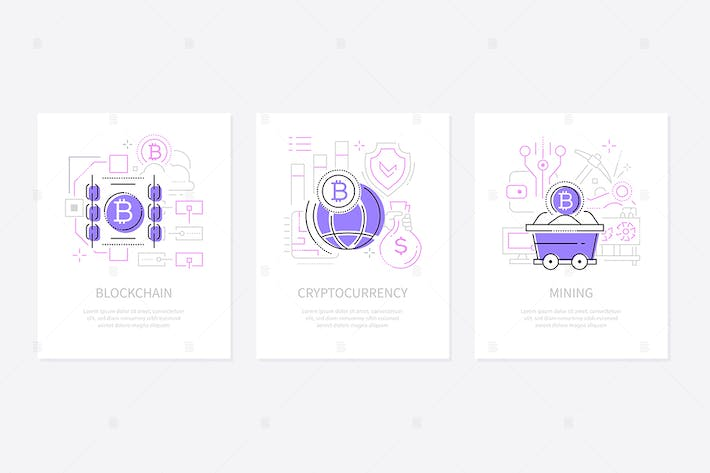 Thumbnail for Cryptocurrency concept - line design style banners