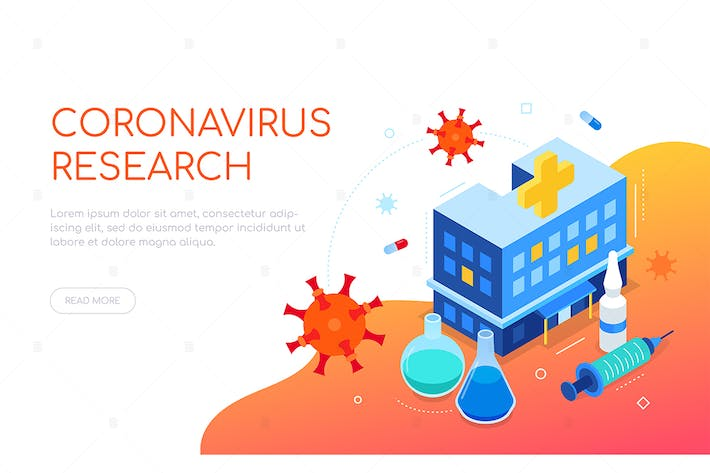 Coronavirus disease research - colorful isometric