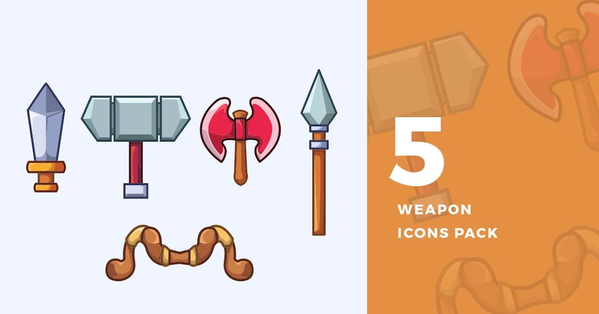 Download 5 RPG Weapon Icons Pack by ovozdigital