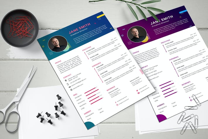 CV Resume Style Abstract Shape Template