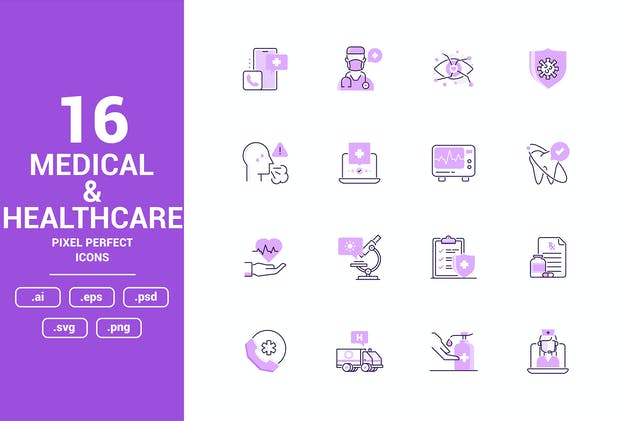 Medical and Healthcare Color Vector Line Icons