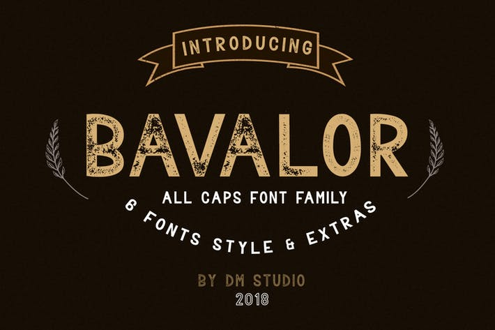 Thumbnail for BAVALOR - ALL CAPS FONT FAMILY WITH EXTRAS