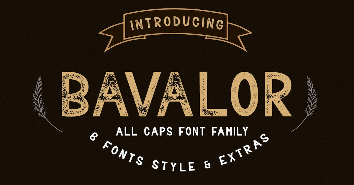 Download BAVALOR - ALL CAPS FONT FAMILY WITH EXTRAS by DmLetter