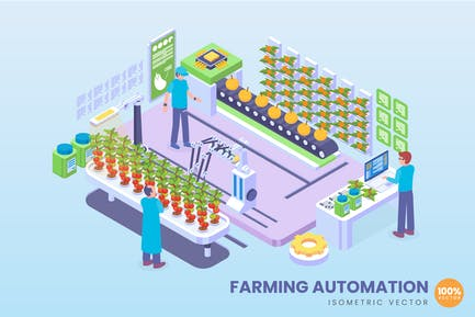 Isometric Farming Automation Concept