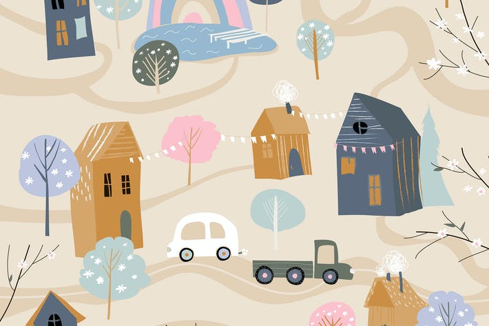 Thumbnail for Cute little village with blossom trees in cartoon