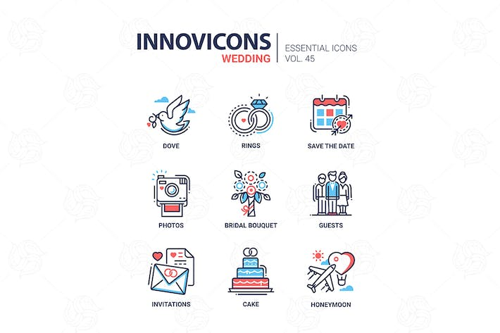Thumbnail for Wedding - modern vector line design icons set