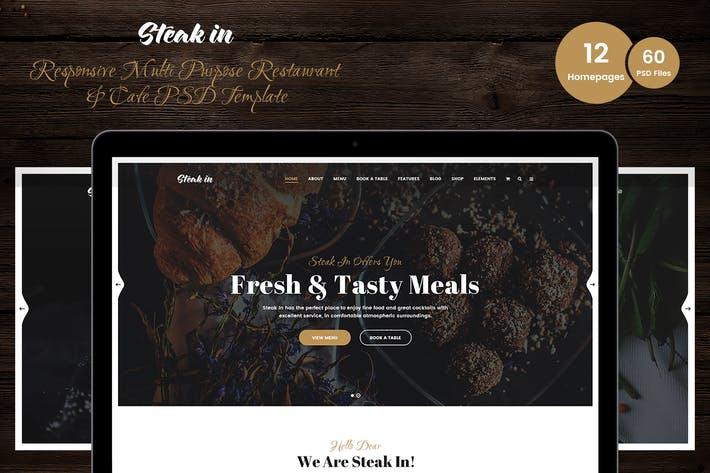 Thumbnail for Steak In - Restaurant & Cafe PSD Template