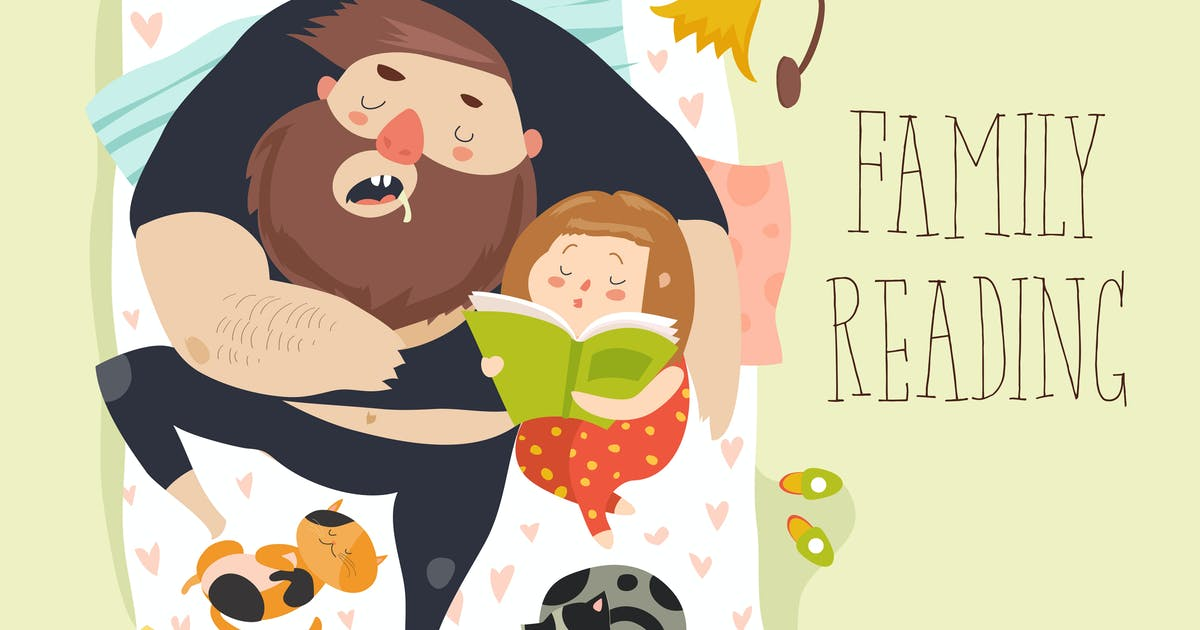 Download Cute daughter reading bedtime story to his father. by masastarus