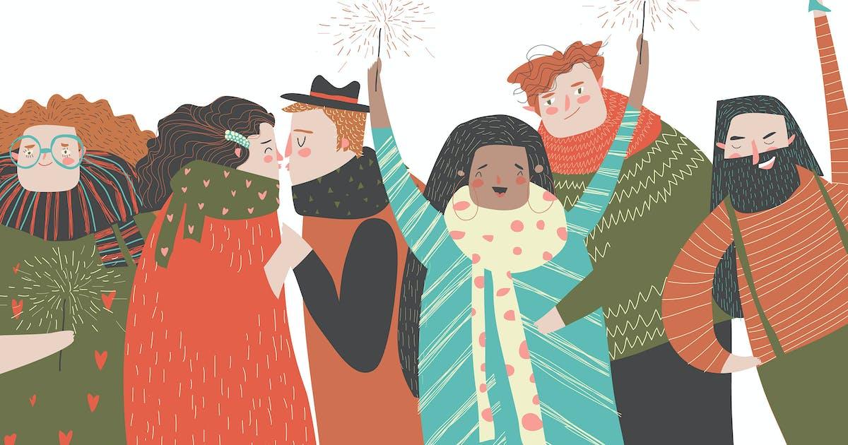 Download Happy people celebrate an important event. Joyful by masastarus