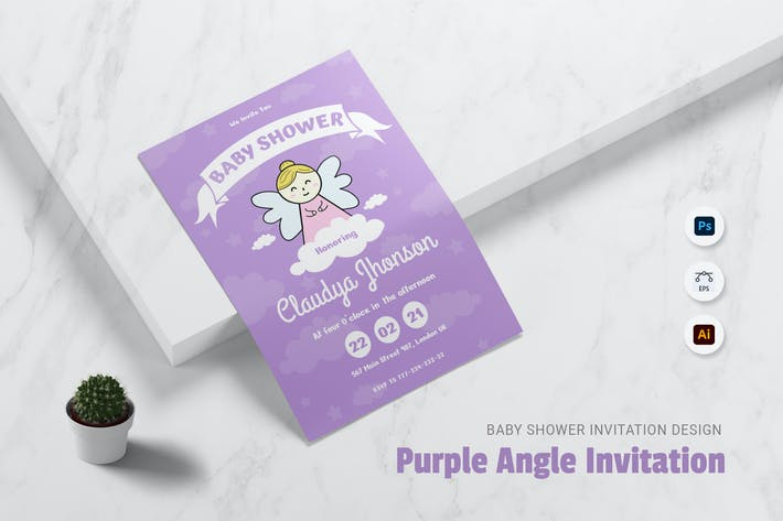 Thumbnail for Invitation Baby Shower Angel