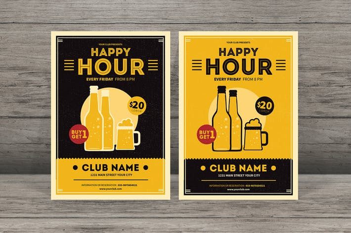 Thumbnail for Simple Retro Happy Hour Beer Flyer