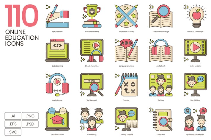 110 Online-BildungIcons & E-Learning-Icons