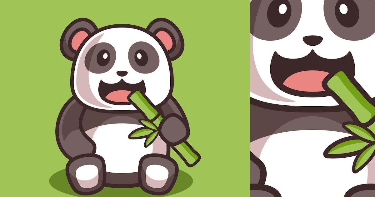 Download Cartoon Cute Panda Eating Bamboo illustration by Rexcanor