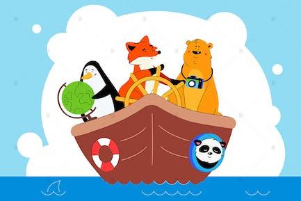 Animals traveling together flat illustration