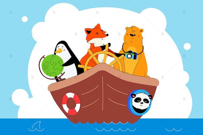 Thumbnail for Tiere zusammen reisen flache Illustration