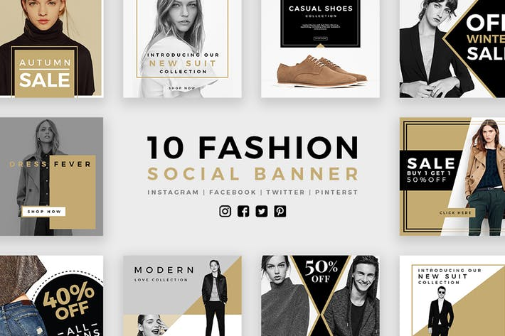 Thumbnail for Fashion Social Media Banners - Kit 03