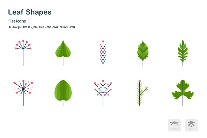 Thumbnail for Leaf Shapes Flat Colored Icons