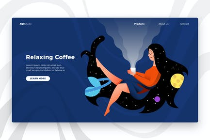 Relaxing Coffee - Banner & Landing Page