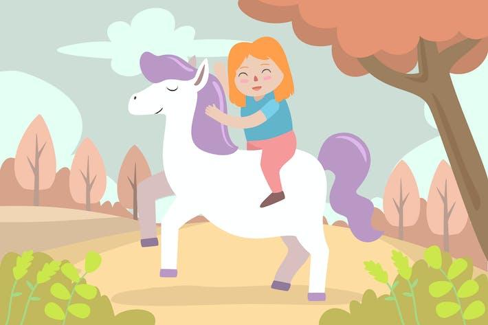 Thumbnail for Niedliches Mädchen mit Kleinem Pony - Vektor Illustration