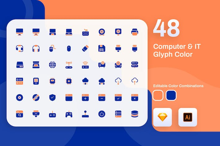 Thumbnail for Computer & IT Glyph Color Icon Set