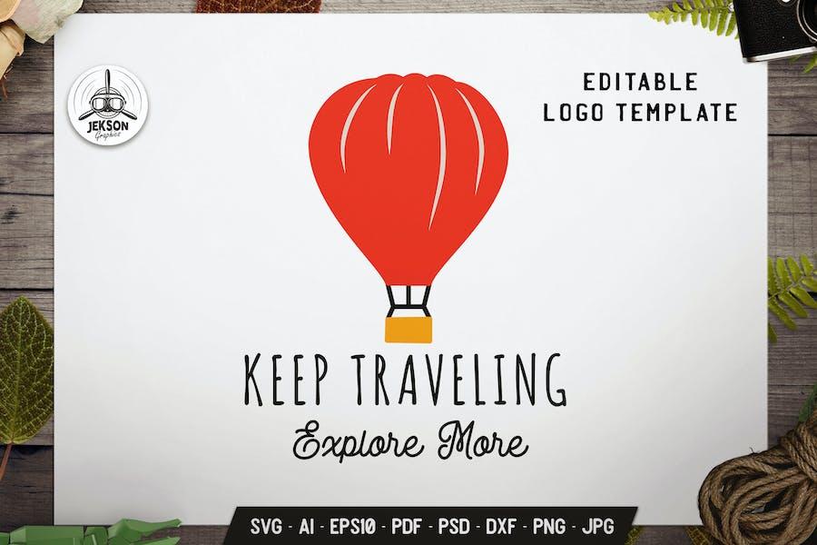 Keep Traveling Label Template. Balloon Flat Badge