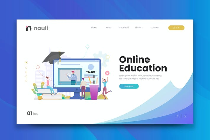 Thumbnail for Online Education Web PSD and AI Vector Template