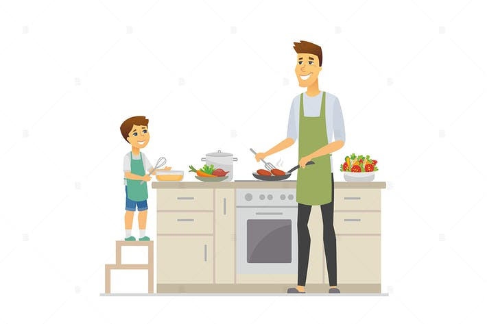 Thumbnail for Father and son cooking - vector illustration