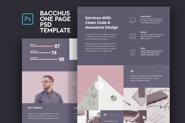 Thumbnail for Bacchus - One Page PSD Template