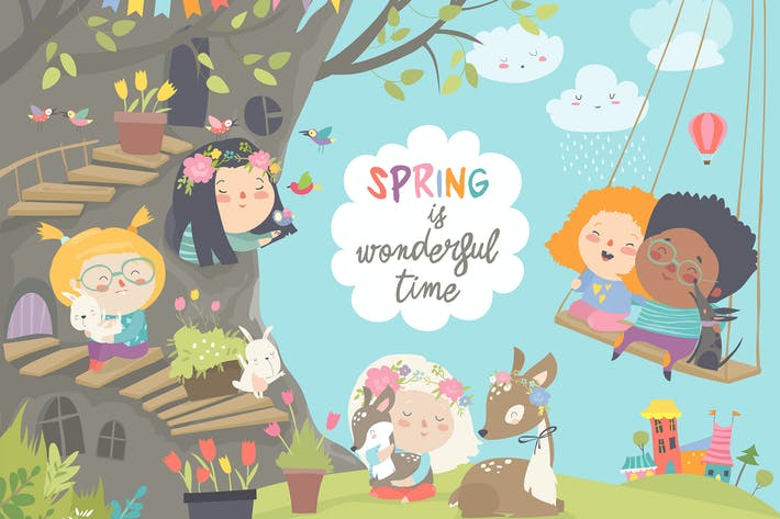Thumbnail for Cute cartoon children with animals in spring fores