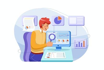 Trabajadores de oficina analizando e investigando datos