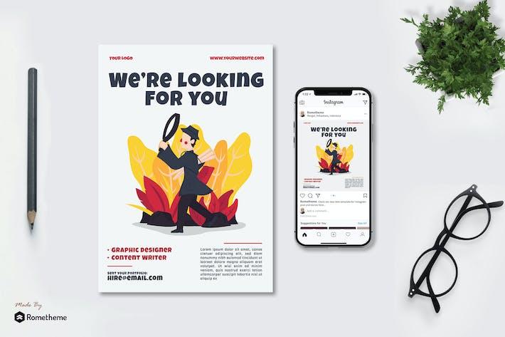Thumbnail for Job Vacancy - Flyer & Instagram Post vol.02 GR