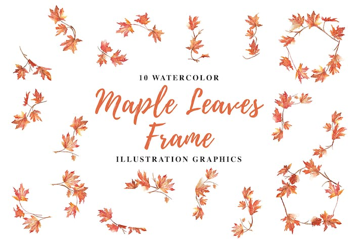 10 Watercolor Maple Leaves Frame Illustration