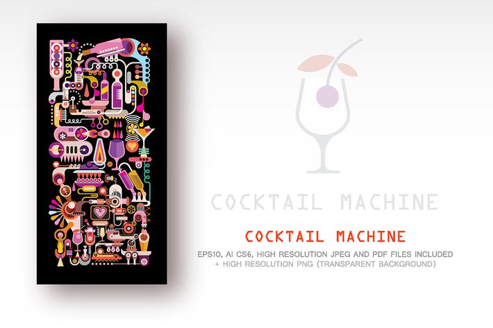 Thumbnail for Cocktail Machine Vektor Illustration (2 Optionen)