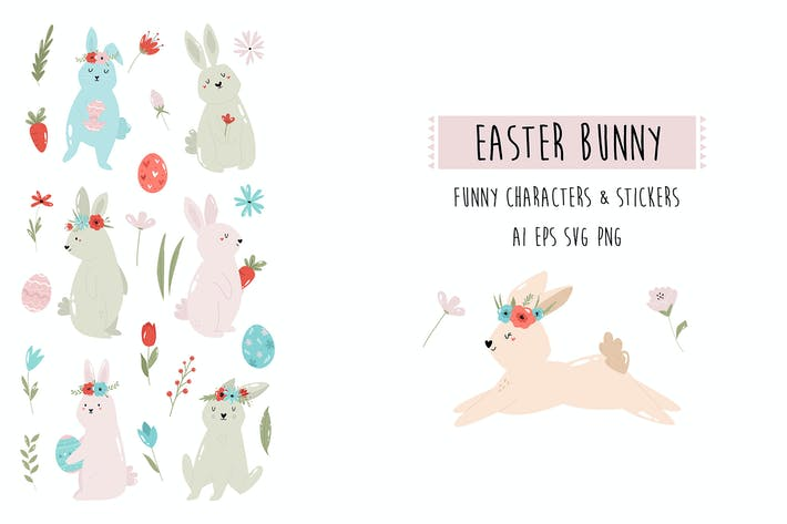 Easter Rabbits Stickers & Cliparts