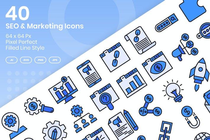 Thumbnail for 40 SEO & Маркетинг Иконки Набор - Заполненная линия