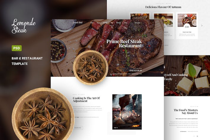 Lemonde Steak - Bar & Restaurant PSD Template