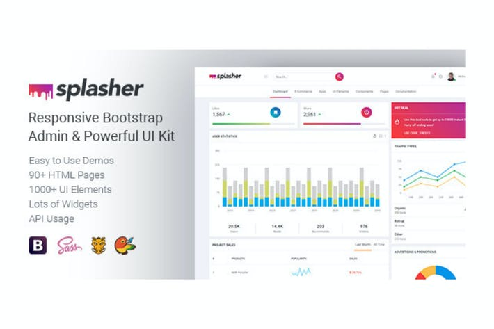 Thumbnail for Splasher - Responsivo Bootstrap Admin