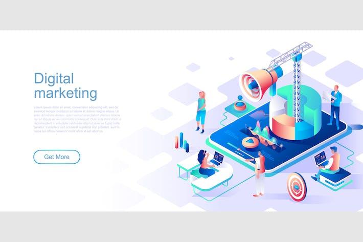 Digital Marketing Isometric Flat Concept Header
