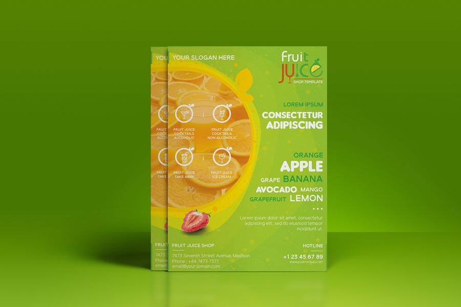 Fruit Juice Shop/ A3 Poster and Rollup Template