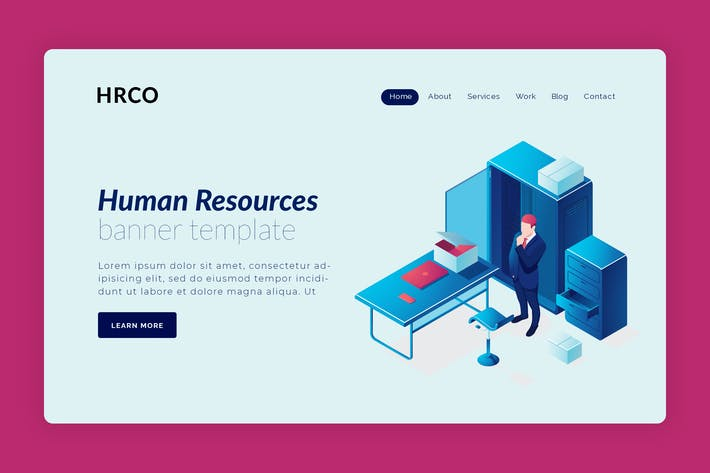 Thumbnail for HRCO - Hero Banner Landing Page Design