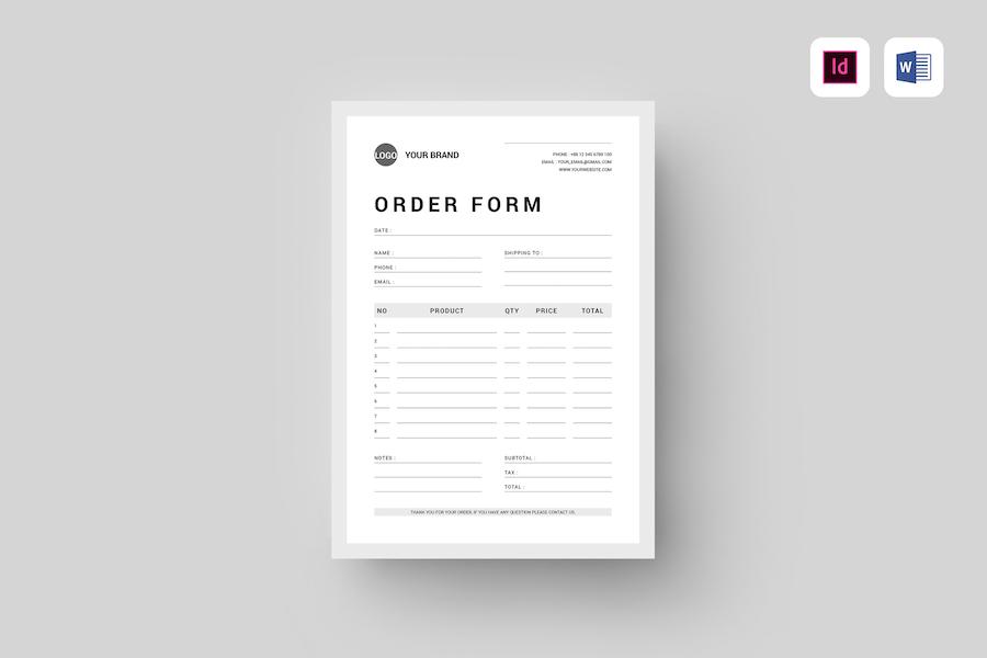 Order Form | MS Word & Indesign