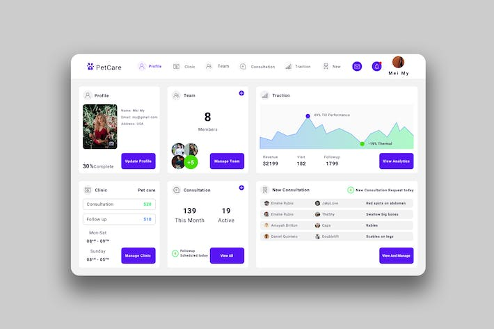 Thumbnail for Pet care Dashboard UI - V2