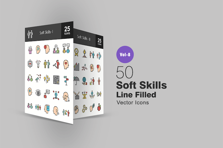 Thumbnail for 50 Soft Skills Line Filled Icons