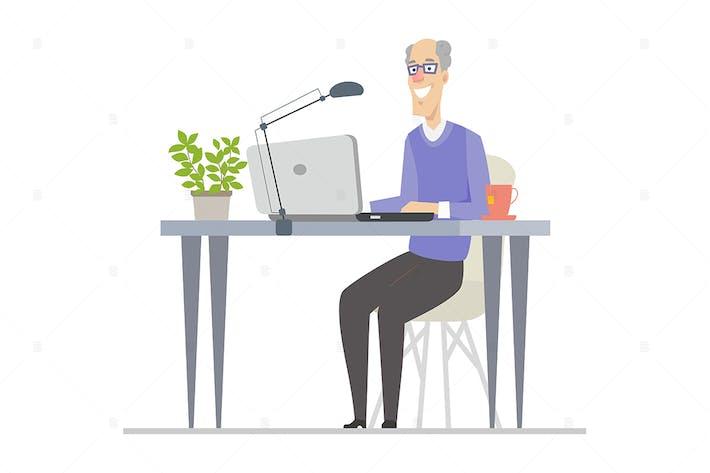 Senior man at the computer - flat illustration