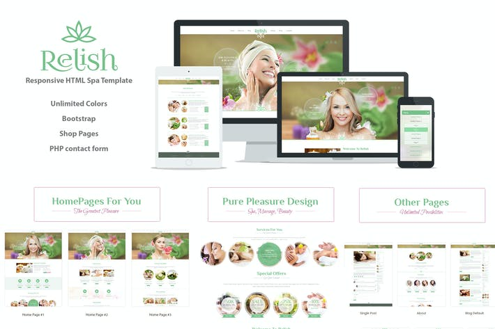 Thumbnail for Relish Spa Salon HTML Template