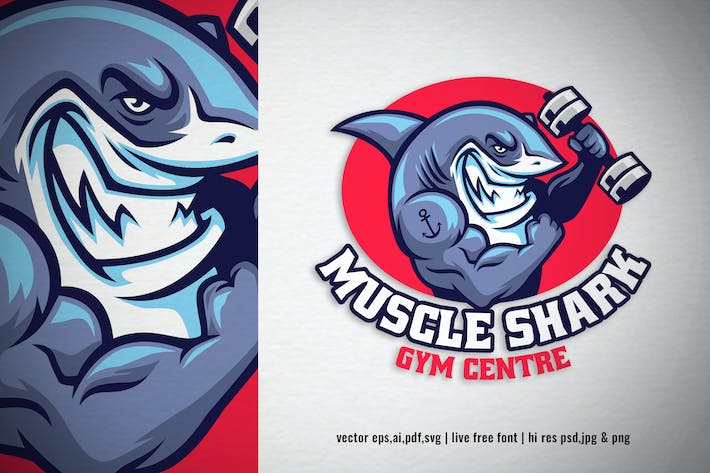 Thumbnail for muscle shark gym centre logo
