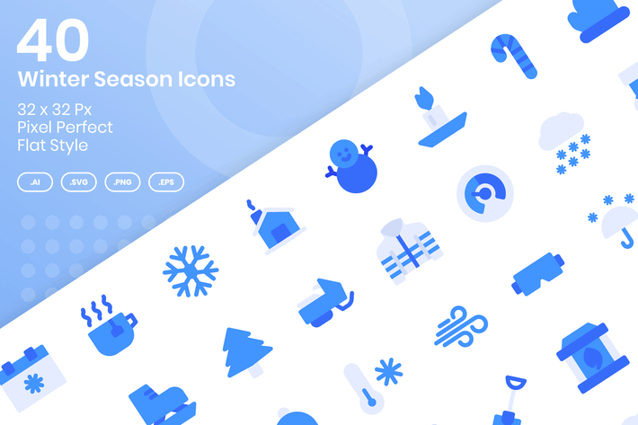 Thumbnail for 40 Winter Season Icons Set - Flat