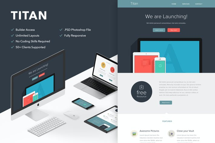 Cover Image For Titan - Responsive Email + Themebuilder Access